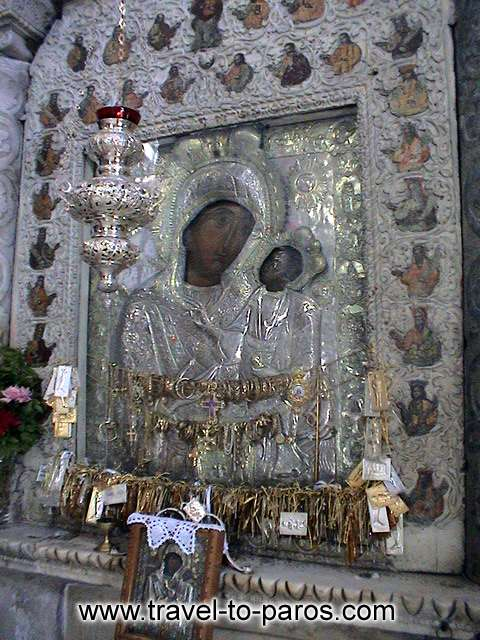 EKATONTAPYLIANI CHURCH - The picture of Virgin Mary that keeps in her hands the infant Jesus, is gilded and bejewelled.