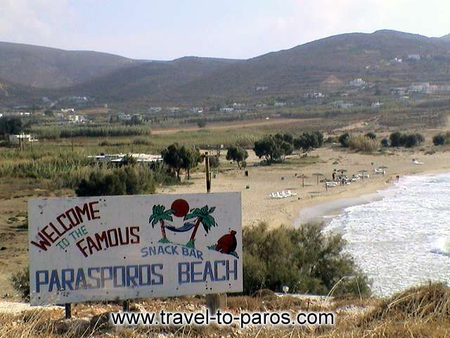 PARASPOROS BEACH - Parasporos, as the sign said, is a famous beach that attracts many tourist.