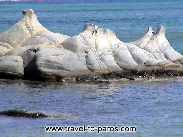 The rocks in the beach Kolybithres resemble with natural sculptures. PAROS PHOTO GALLERY - PAROS KOLYBITHRES