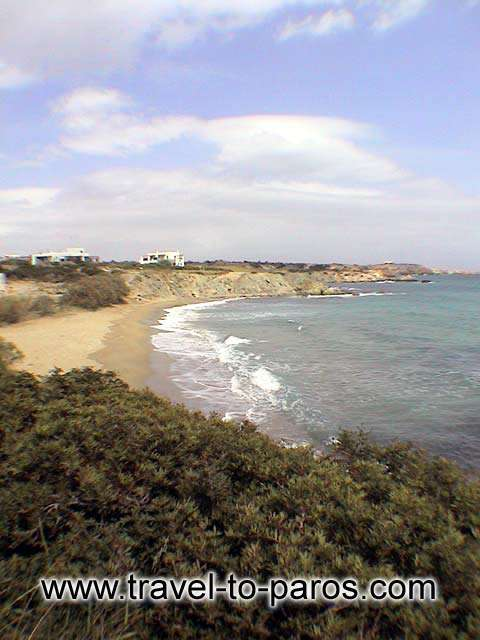 VIEW FROM ABOVE - The little golden sand of Lolantonis beach.