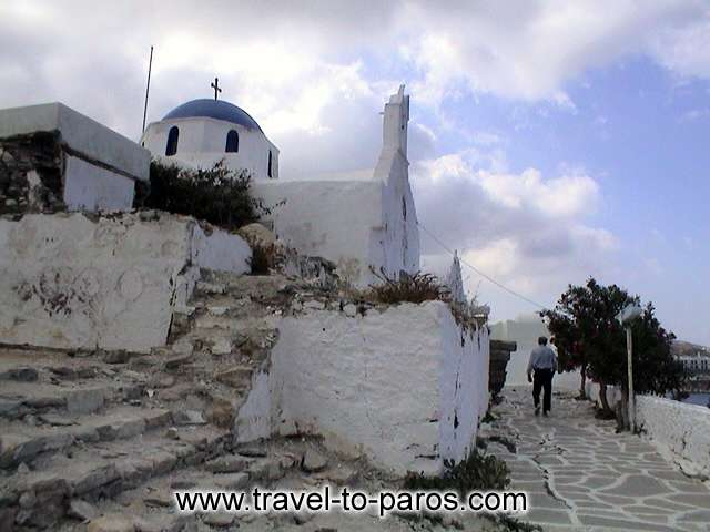 A characteristic paved path in Parikia. PAROS PHOTO GALLERY - PARIKIA PAROS