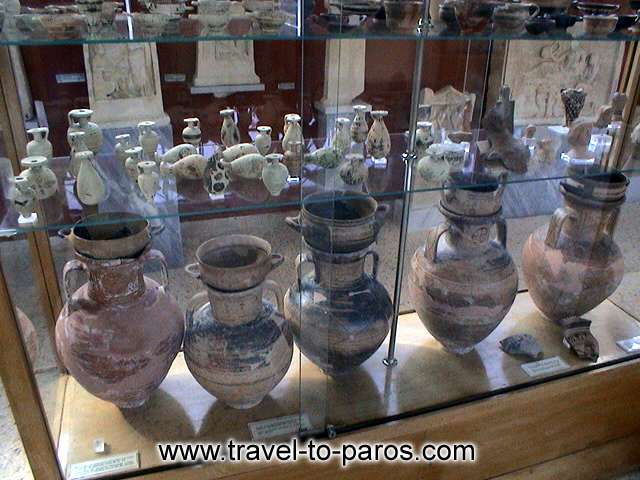 ARCHAEOLOGICAL MUSEUM OF PAROS - The collection with the Cycladic vasals.