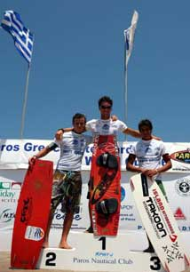 Paros - The finals of the Kiteboard Pro World Cup 2006 Paros event were run on Saturday with a truly spectacular show between 12.00 and 15.35, broadcasted live from the TV sponsor, SuperSport. <br><br>  The Kiteboard Pro World Cup 2006 Paros event will come to an end on Sunday evening with the Closing Ceremony that will be hosting the riders and the organization memebers with the Grand Award Ceremony, Beach Barbeque, Pounda Beach Party, and fireworks. <br><br>  For more information, visit <a href=http://www.kiteboardpro.com/events2006/Greece/home.htm target=_blank>www.kiteboardpro.com</a>